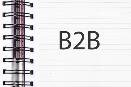 Business to business (B2B) words on spring note book.