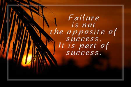 Inspirational motivating quote on silhouette of coconut frond toward sun during sunset. Failure is not the opposite of success. it is part of success.