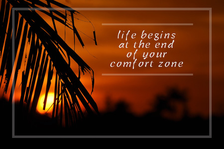 Inspirational motivating quote on silhouette of coconut frond toward sun during sunset. life begins at the end of your comfort zone