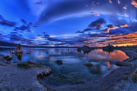Mono Lake is a majestic body of water covering about 65 square miles  It is an ancient lake, over 1 million years old -- one of the oldest lakes in North America  photo