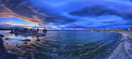 65 years old: Mono Lake is a majestic body of water covering about 65 square miles  It is an ancient lake, over 1 million years old -- one of the oldest lakes in North America