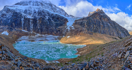 Angel Glacier and melt-water lake below Mount Edith Cavell, Jasper National Park, Alberta, Canada. photo