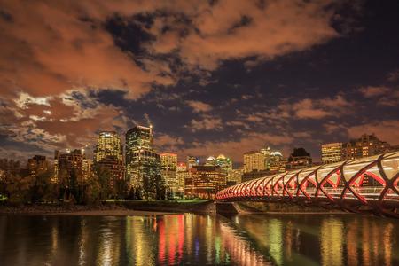 Peace Bridge over Bow River in Calgary, Canada