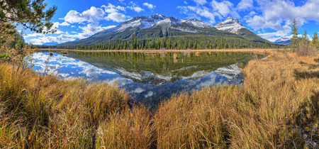 rampart: Rampart Pond, Icefields Parkway, Alberta, Canada Stock Photo