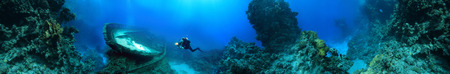 free dive: wreck at the bottom of the Red Sea