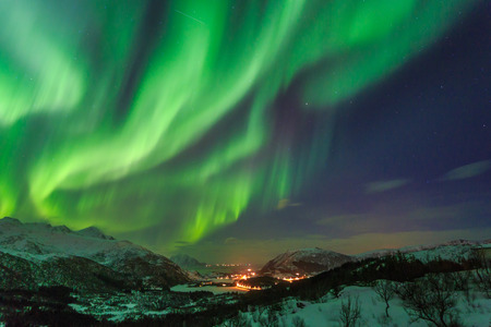 by light: Northern Lights in Norway Stock Photo