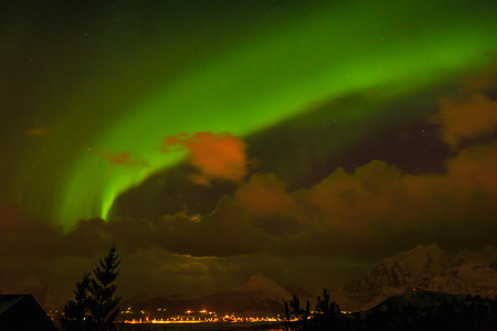 magnetic north: Northern Lights in Norway Stock Photo