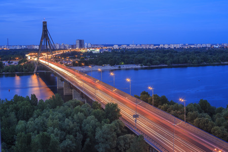 View of the Moscow Bridge in Kiev, Ukraine Editorial