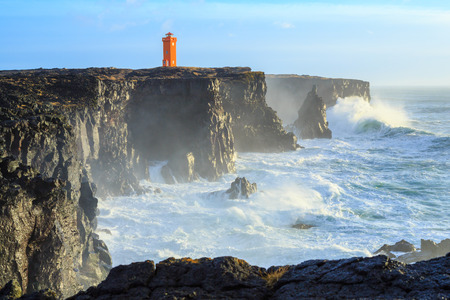 Winter storm on the western coast of Iceland Stock Photo