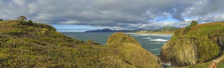 Oregon Coast: View from Yaquina Head Lighthouse, Oregon, USA Stock Photo