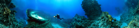 Diver perto da destruição, Mar Vermelho, Egipto