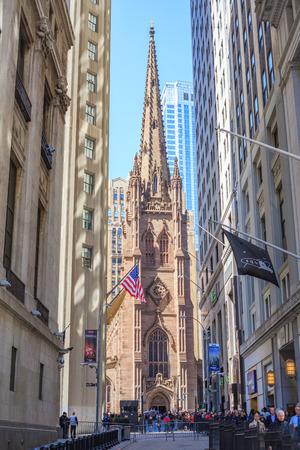 Trinity Church from Wall Street, LOWER MANHATTAN, NEW YORK, USA Editorial