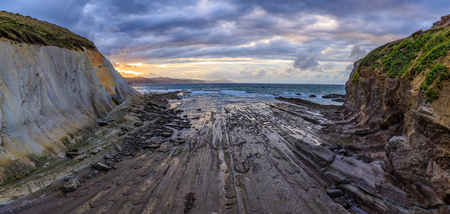 Flysch rock formation and beach, Spain