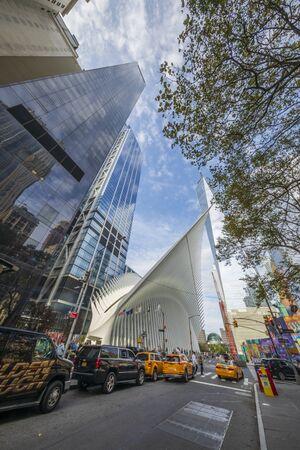 NEW YORK CITY / USA – OCTOBER 12, 2019:  The new World Trade Center Transportation Hub