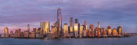 View of Manhattan skyscrapers at sunset, New York City, USA Editorial
