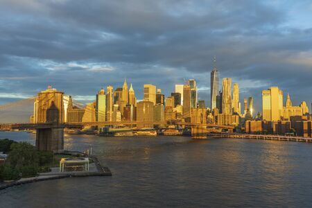 Brooklyn Bridge and Manhattan skyline, New York City, United States
