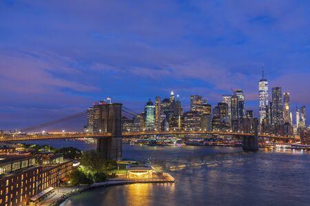 Brooklyn Bridge before sunrise, New York City, USA