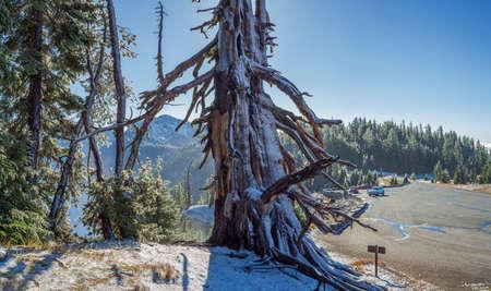 First snow of the season at Crater Lake National Park, Oregon, USA Standard-Bild