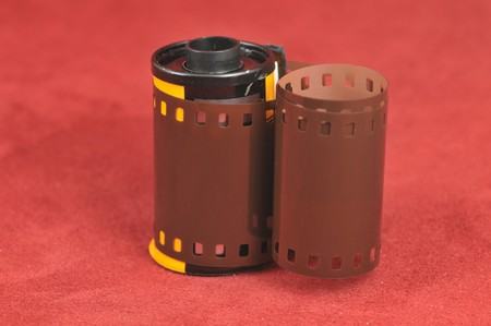 35mm film canister Stock Photo