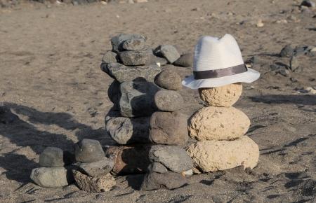 Hat over the rocks,in Tenerife, Spain