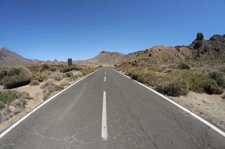 Empty road in the desert to infinity,in Tenerife, Spain photo