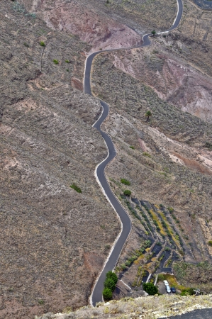 Road in the desrt from a mountain in Lanzarote Spain Stock Photo - 19820192