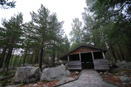 Wooden Refuge into the wild in north europe photo