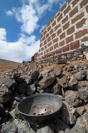 rusty aged metal near a wall on a loudy sky Stock Photo - 20174746