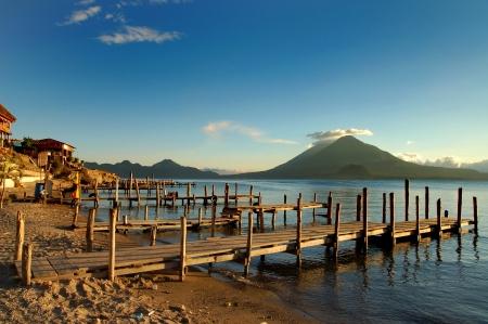 Pier on the Atitlan Lake in Guatemala at Sunset