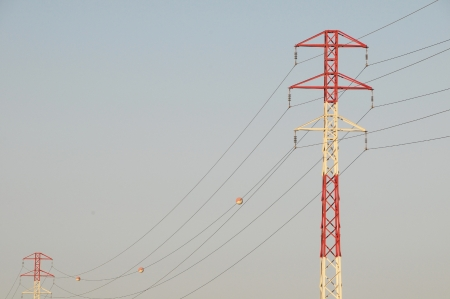 Electricity Pole over a Blue Sky in Spain photo