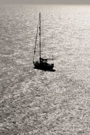 nile river: Silhouetted Sailing Boat on the Atlantic Ocean Near Canary Island