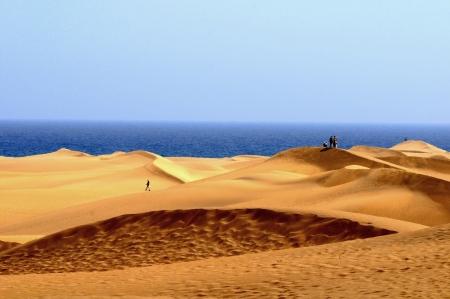 An Orange Sand Desert in Gran Canaria Island, Spain Stock Photo