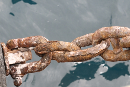 An Old Rusty Naval Chain, in Canary Islands, Spain photo