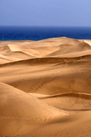 gran canaria: An Orange Sand Desert in Gran Canaria Island, Spain Stock Photo