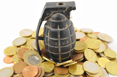 Money for War Concept Hand Grenade and Money Stock Photo - 22676561