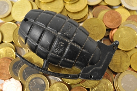 Money for War Concept Hand Grenade and Money Stock Photo - 22676695