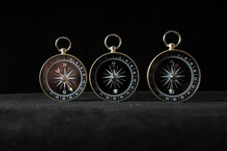 orientation: Orientation Concept Compass Indicating Differents Directions on a Black Background