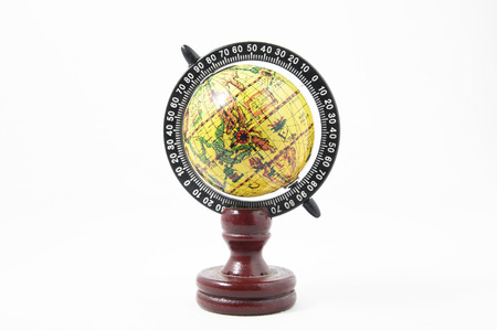 Vintage Wooden Old Globe Earth on a White Background photo