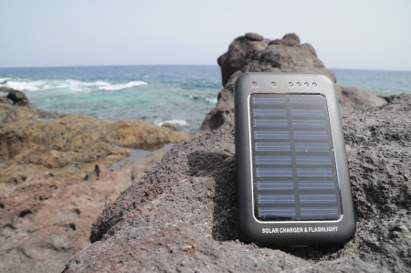 Portable Small Solar Panel near the Atlantic Ocean photo