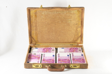 One Suitcase Full of Pink 500 Euros Banknotes Stock Photo