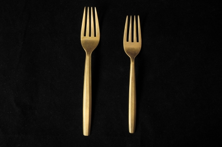 Ancient Vintage Silver  Flatware on a Black Stock Photo - 23161801