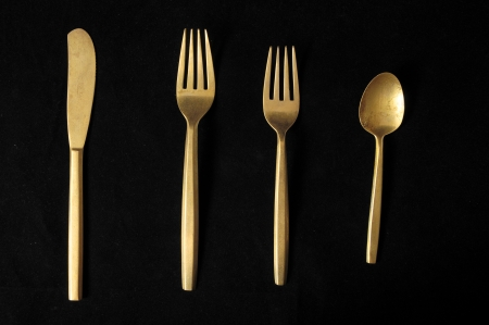 Ancient Vintage Silver  Flatware on a Black Stock Photo - 23161802
