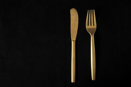 Ancient Vintage Silver  Flatware on a Black  Stock Photo - 23164836