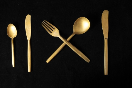 Ancient Vintage Silver  Flatware on a Black  Stock Photo - 23165077