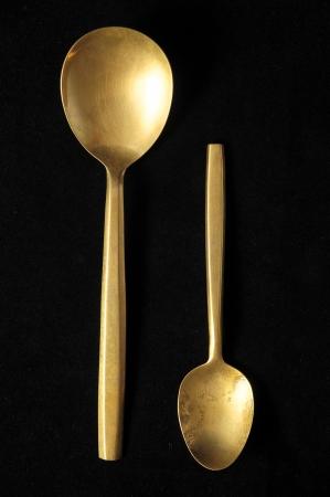 silver flatware: Ancient Vintage Silver   Flatware on a Black