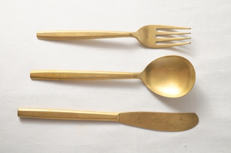 silver flatware: Ancient Vintage Silver   Flatware on a White