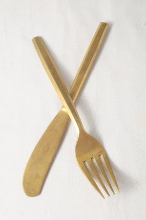 Ancient Vintage Silver   Flatware on a White  photo