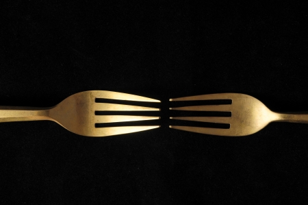 Ancient Vintage Silver Flatware on a Black Background Stock Photo - 23158247