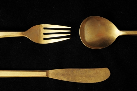 Ancient Vintage Silver  Flatware on a Black Stock Photo - 23158248
