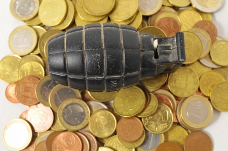 Money for War Concept Hand Grenade and Money Stock Photo - 23336956